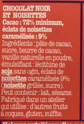 Chocolat Noir Et Noisettes - Ingrediënten - fr