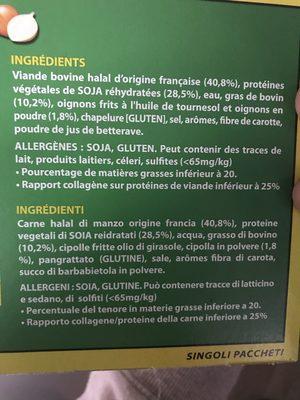 Steak a l oignon - Ingrédients