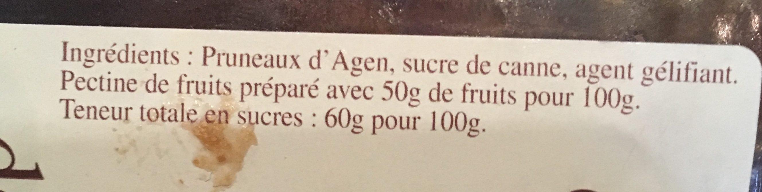 Crème de pruneaux d'Agen - Ingrédients