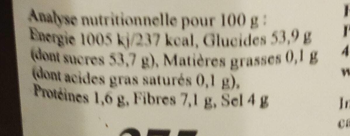 Crème de pruneaux d'Agen - Informations nutritionnelles