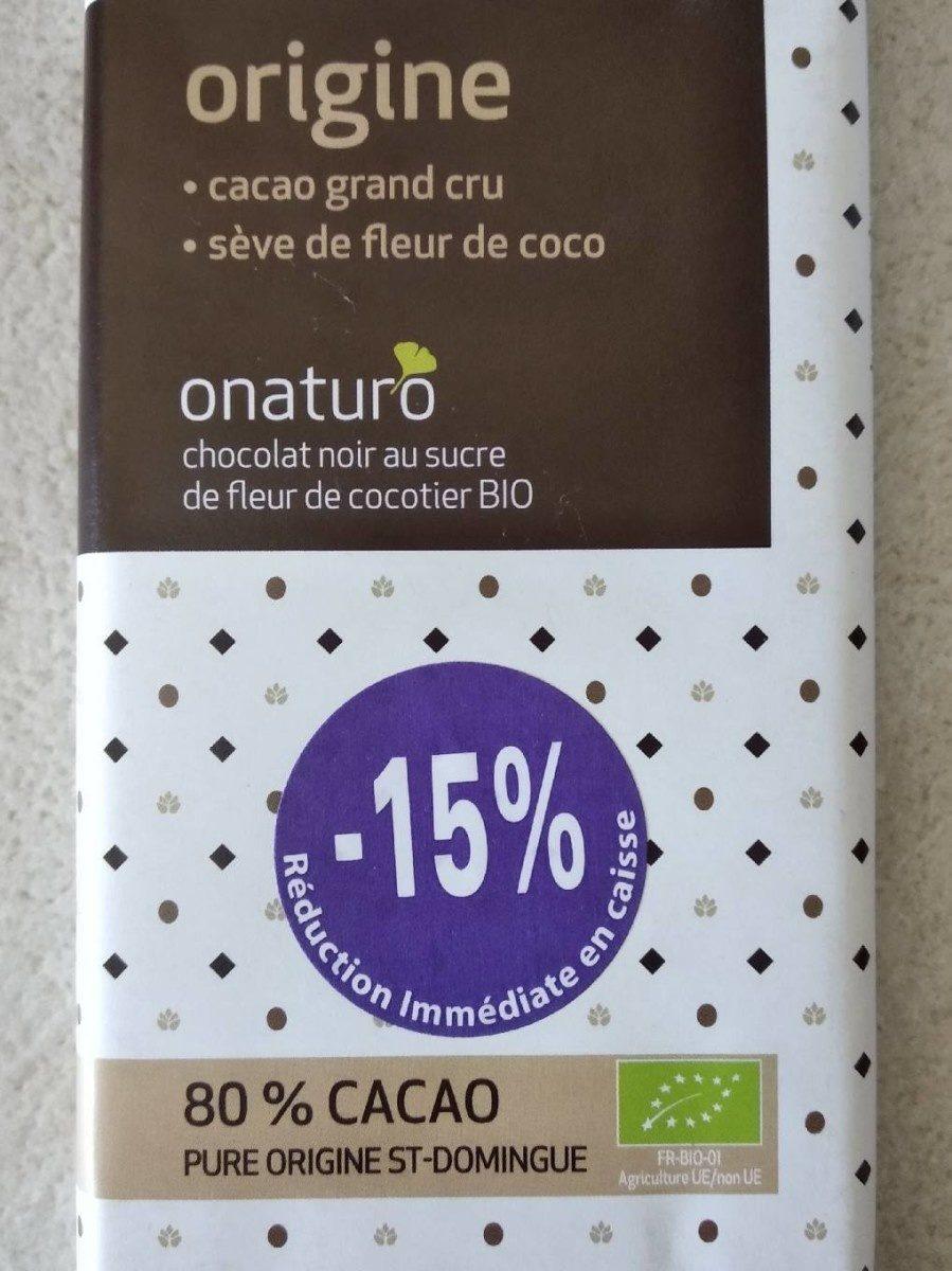 Chocolat Noir Au Sucre De Fleur De Coco 80 Cacao Onaturo