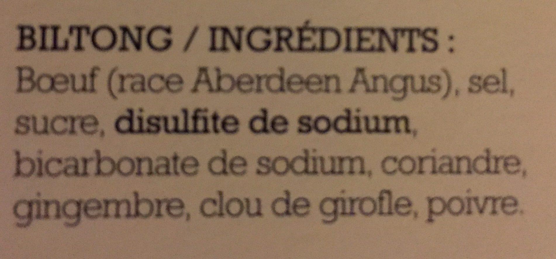 Biltong de Bœuf - Ingrediënten
