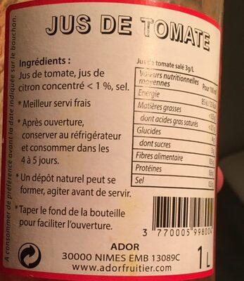 Jus de tomate - Ingredienti - fr