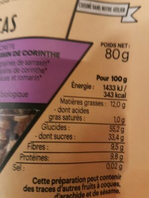 En-cas Abricot - Raisin de corinthe - Voedigswaarden