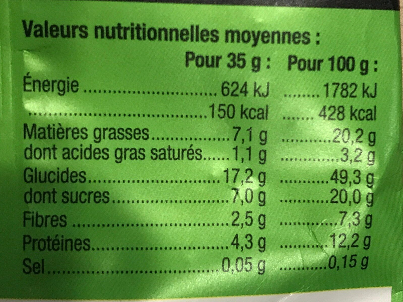 Granola Cacao-Noisette - Nutrition facts