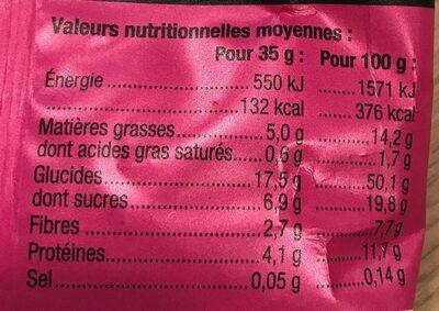 Granola Fraise-Framboise - Nutrition facts