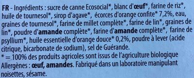 Moelleux Bio orange douce - Ingredients