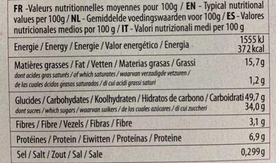 Moelleux Bio orange douce - Nutrition facts