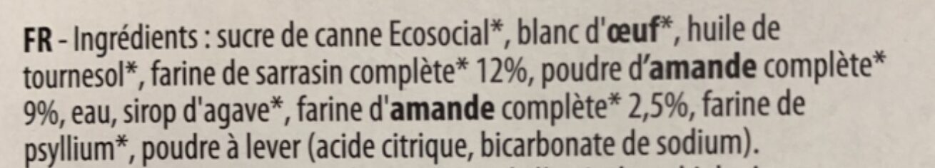 Moelleux bio amande sarrasin - Ingredients - fr