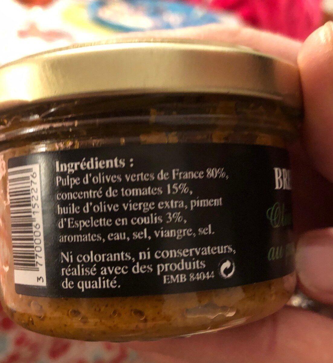 Olives vertes de France au piment d'Espelette - Nährwertangaben