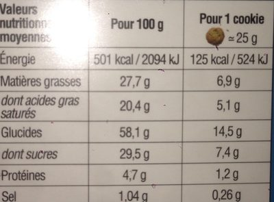 Cookies - Informations nutritionnelles - fr
