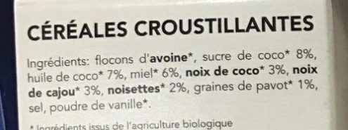Granola Nutty by Nature - Cajou, Coco & Noisettes - Ingredients