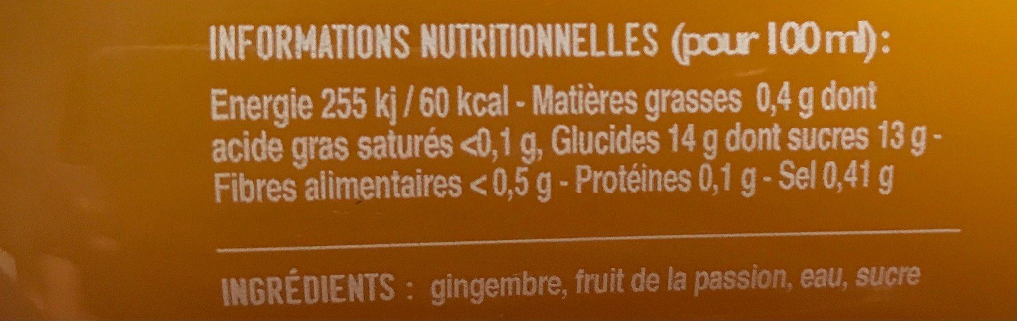 Jus de gingembre passion - Informations nutritionnelles - fr
