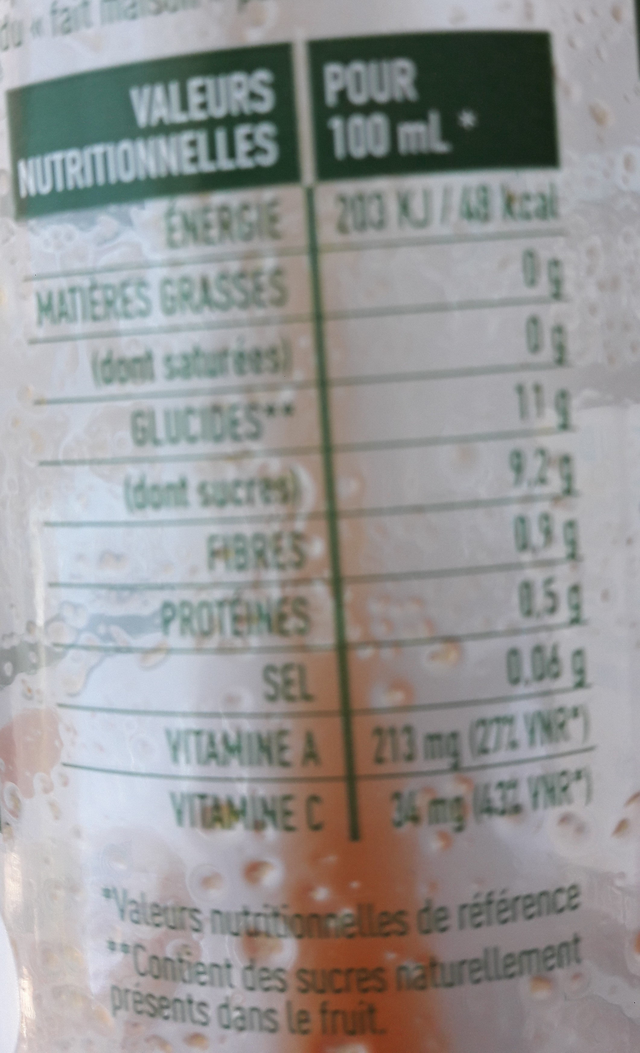 Jus Carotte Pomme Gingembre - Nutrition facts - fr