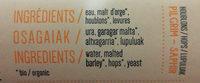 Balea ternua bière artisanale - Ingrédients - fr