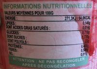 Sorbet vegetal fraise - Informations nutritionnelles - fr
