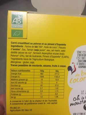 Carre Croustillant Poivron Piment Espelette - Ingrediënten - fr