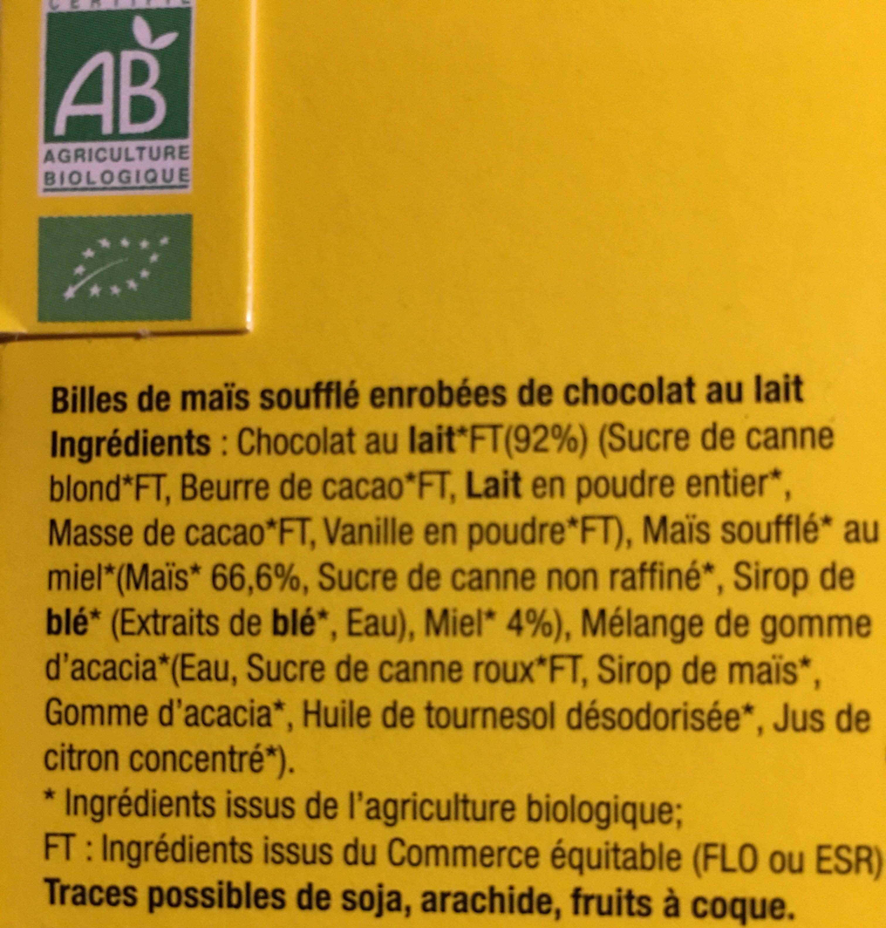 Billes De Mais Souffle Enrobees Choc Lait - Ingrédients