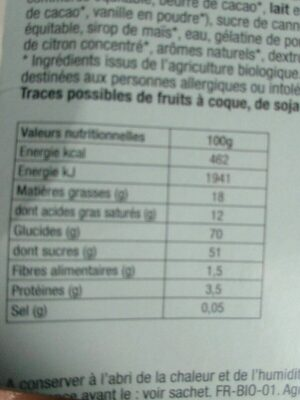 Guimauve enrobées chocolat au lait - Nutrition facts