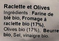 Crackers Raclette & Olives - Ingredienti - fr