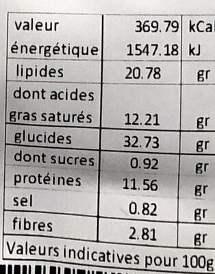 Crackers Raclette & Olives - Valori nutrizionali - fr