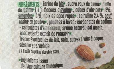 Cookies Spiruline/Amande/Abricot - Ingrédients - fr