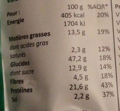 Smeal saveur légumes du potager - Informations nutritionnelles - fr