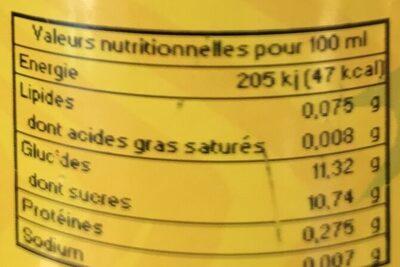 Nectar de fraise - Nutrition facts