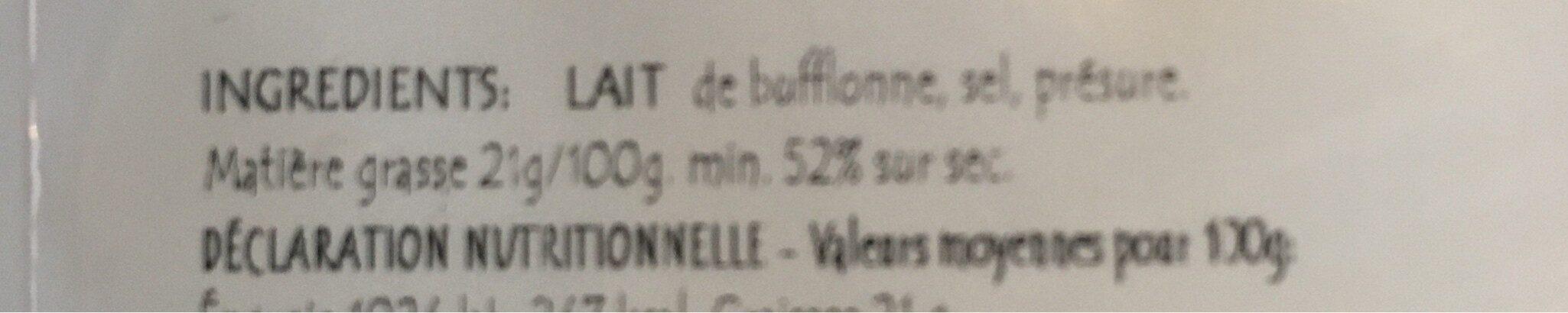 Mozzarella di Bufala Campana au lait cru - Ingredients - fr