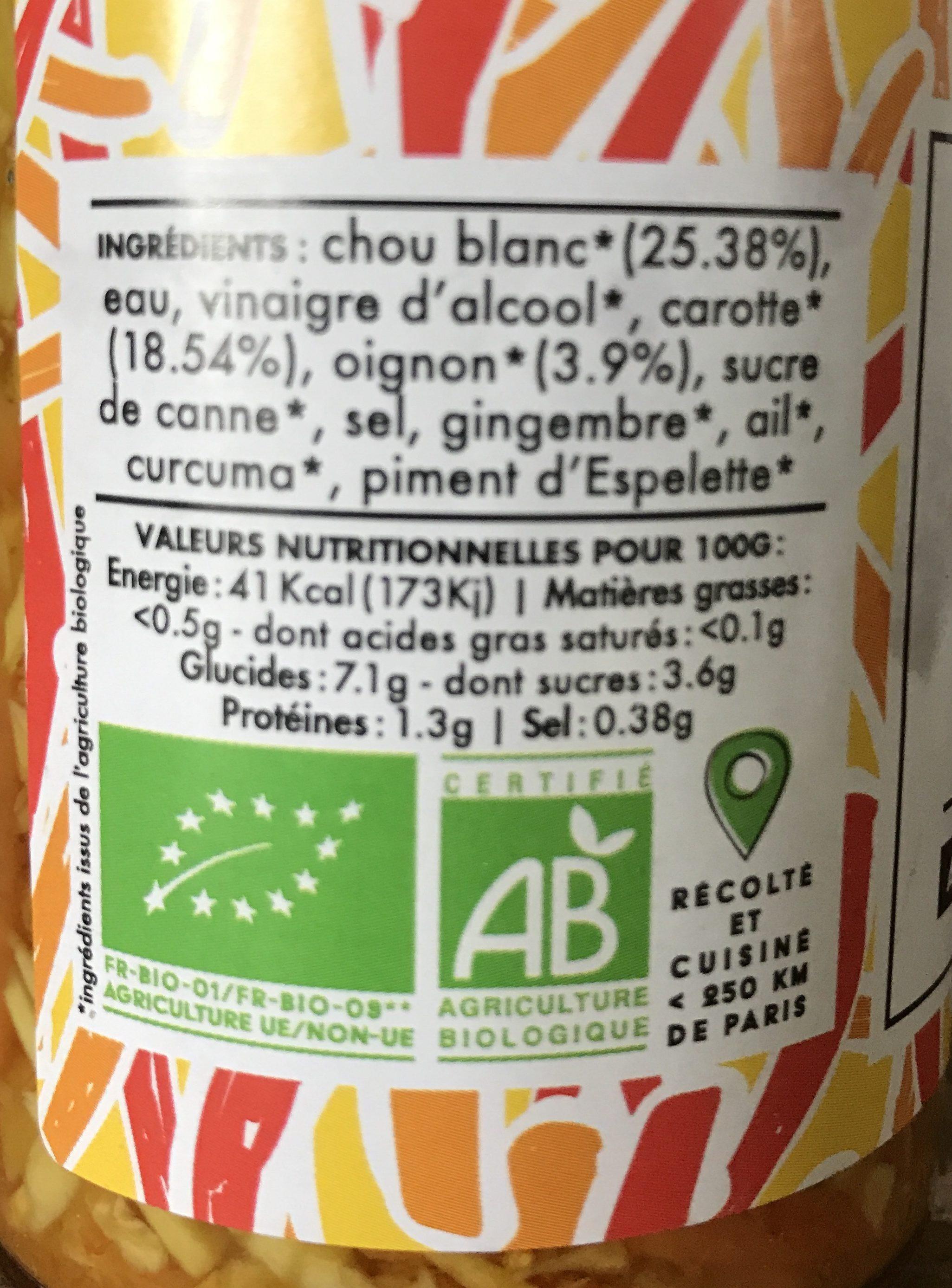 Pickles Achard De Légumes épicés - Ingrediënten