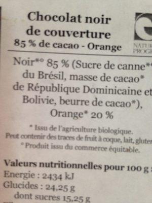 Chocolat noir de couverture 85% Orange - Ingrediënten