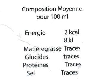 Sève de bouleau - Nutrition facts - fr