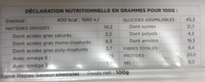 Barre chocolat - Repas complet - Informations nutritionnelles