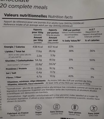 Feed saveur chocolat 3kg - Nutrition facts - fr