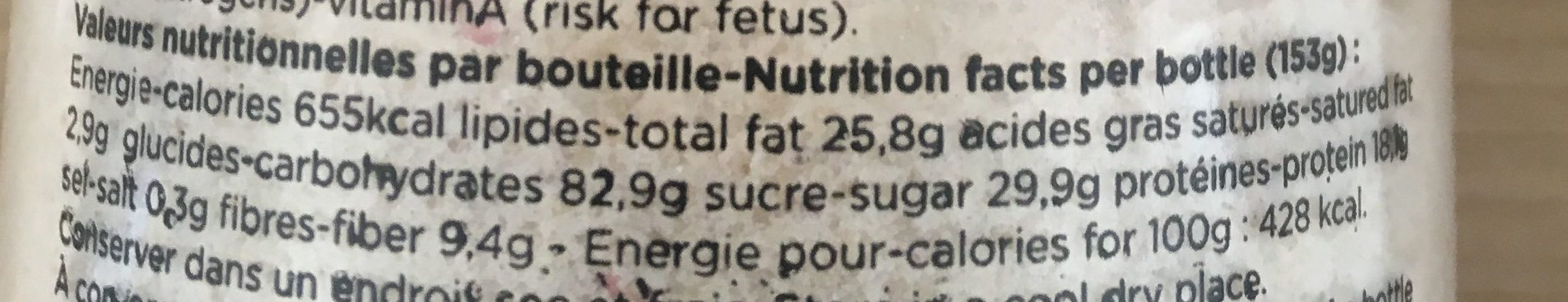Feed Saveur fruits rouges - Informations nutritionnelles