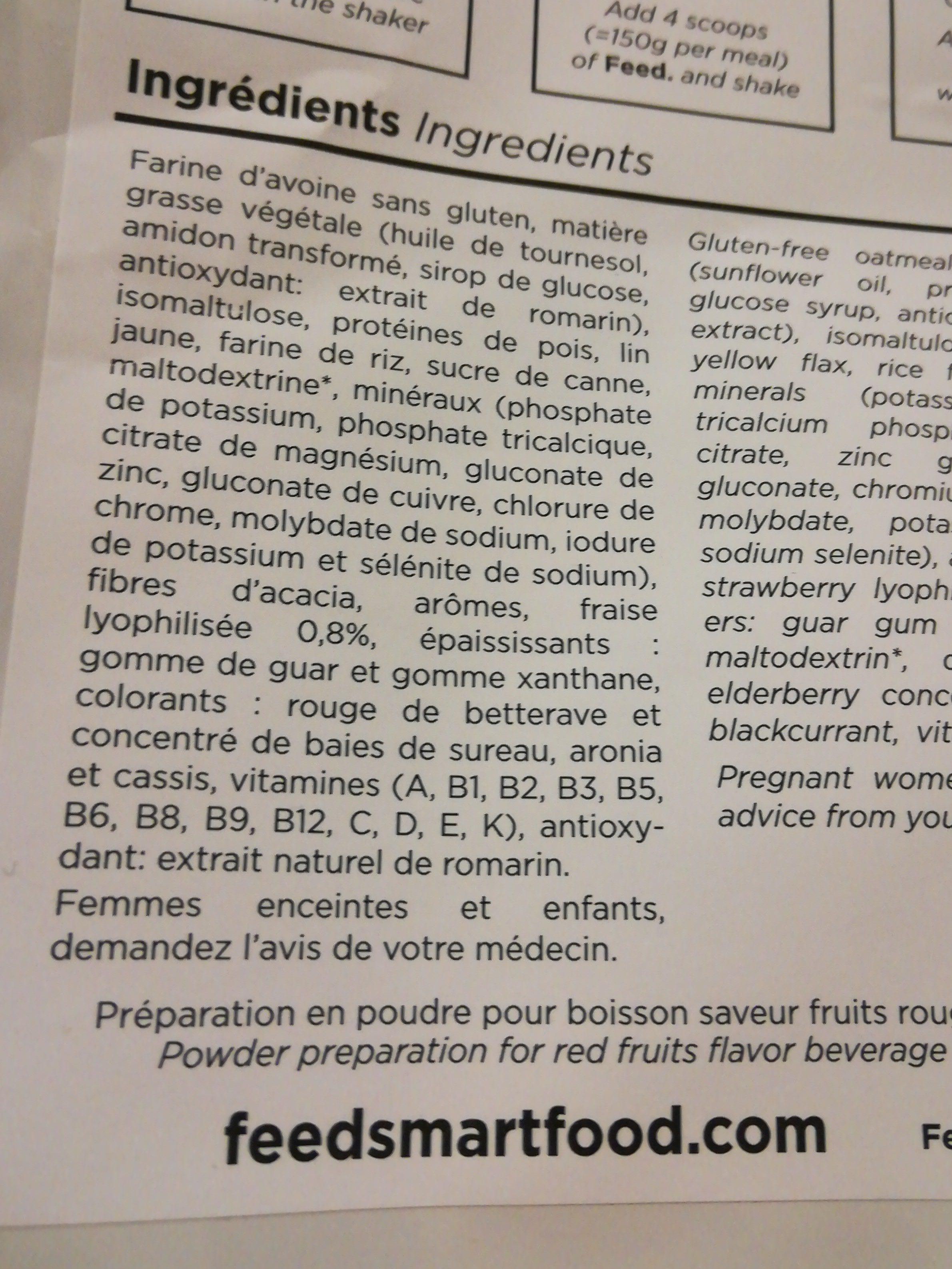 Poudre pour Shaker saveur fruits rouge - Ingrédients