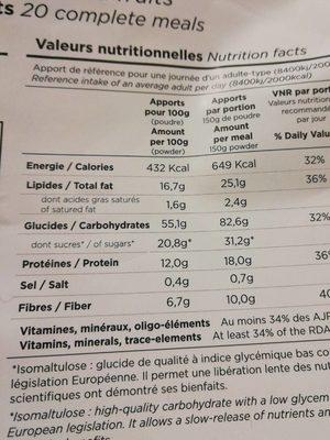 Poudre pour Shaker saveur fruits rouge - Informations nutritionnelles