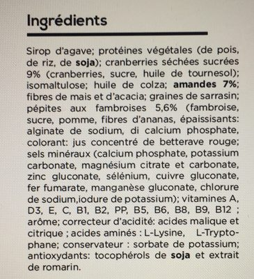 Barre repas fruit rouge - Ingredients