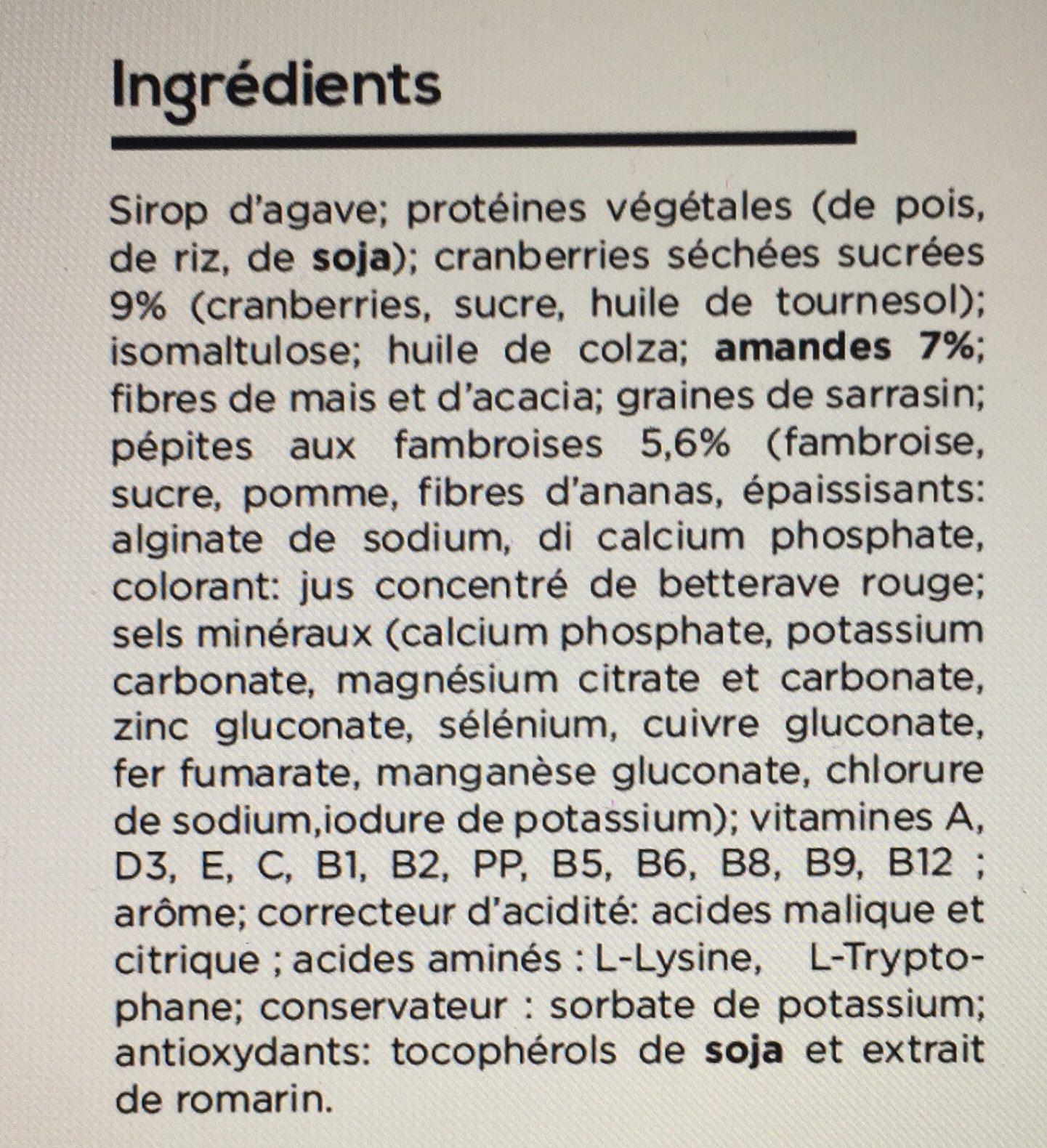 Barre repas fruit rouge - Ingredientes