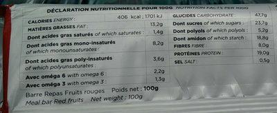 Barre repas fruit rouge - Información nutricional