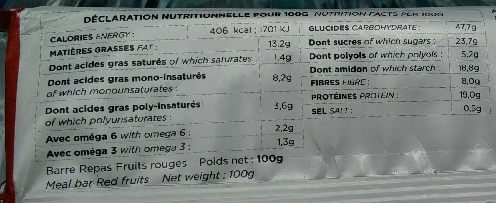 Barre repas fruit rouge - Informació nutricional
