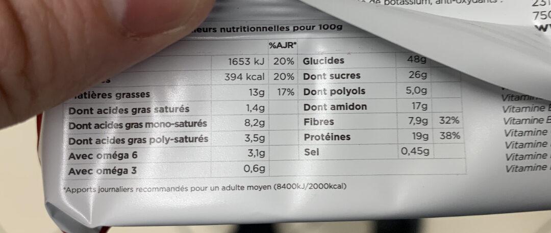 Barre Original Chocolat Fruits rouges - Voedingswaarden - fr