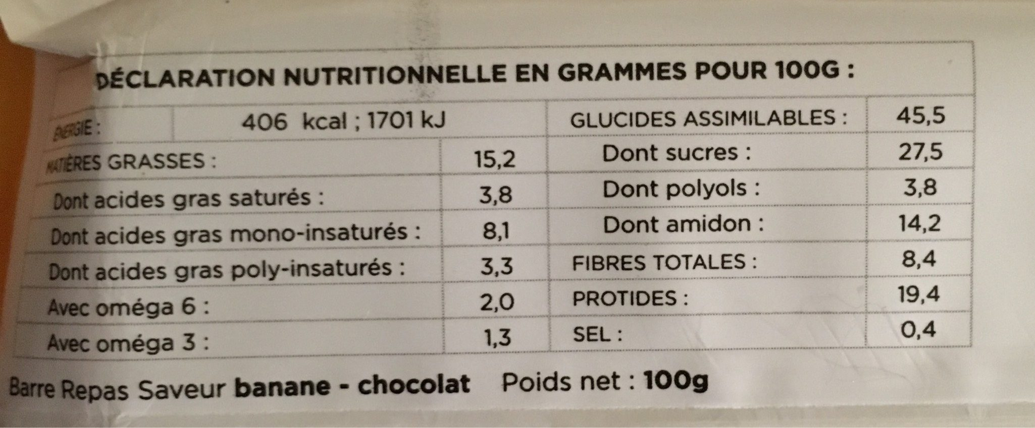 Feed barre banane chocolat - Informations nutritionnelles