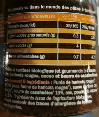 OUF! La pâte à tartiner Cacao Cacahuètes - Nutrition facts - fr