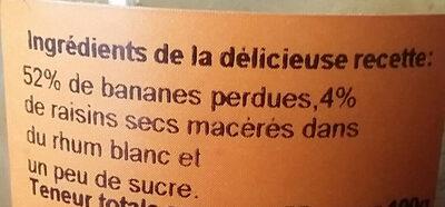 confiture de banane rhum raisin - Ingredients - fr