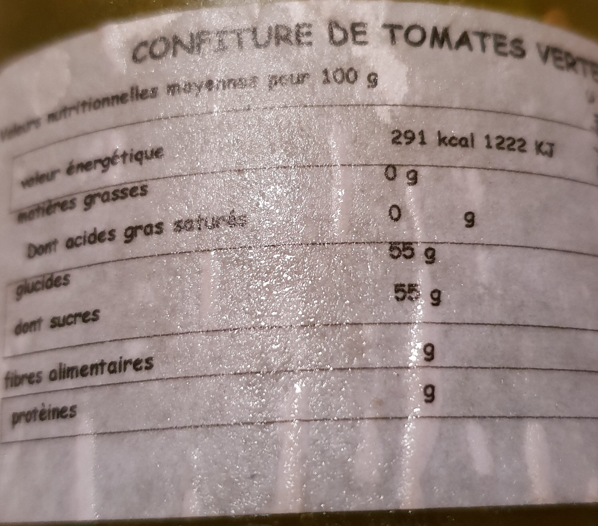 confiture tomates vertes - Nutrition facts