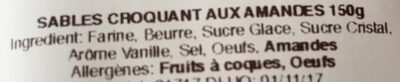 Sables croquant aux amandes - Ingrediënten - fr