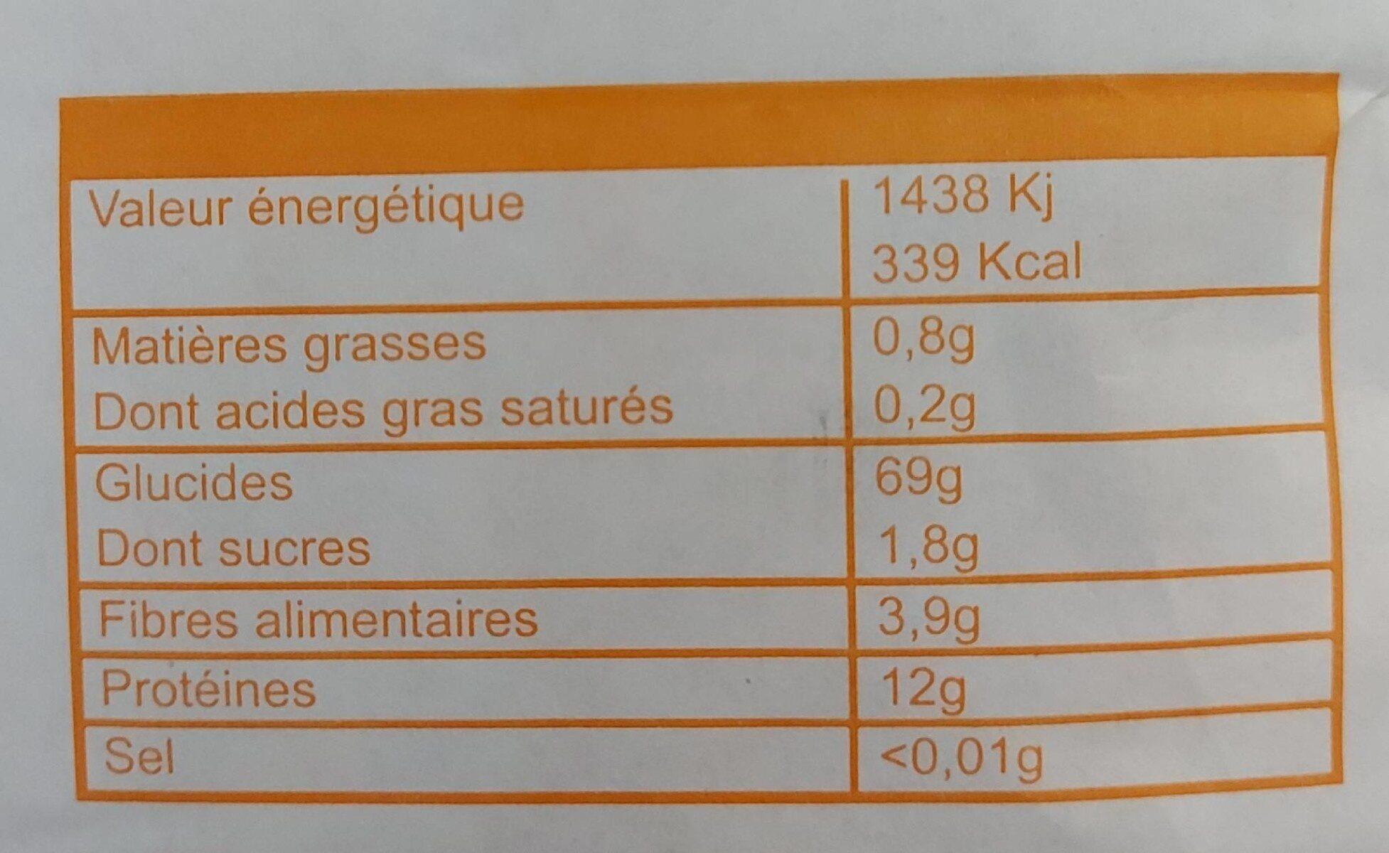 Farine de blé type 55 - Informations nutritionnelles - fr