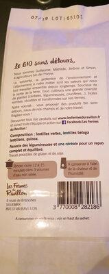 Trio de lentilles quinoa - Ingrediënten - fr