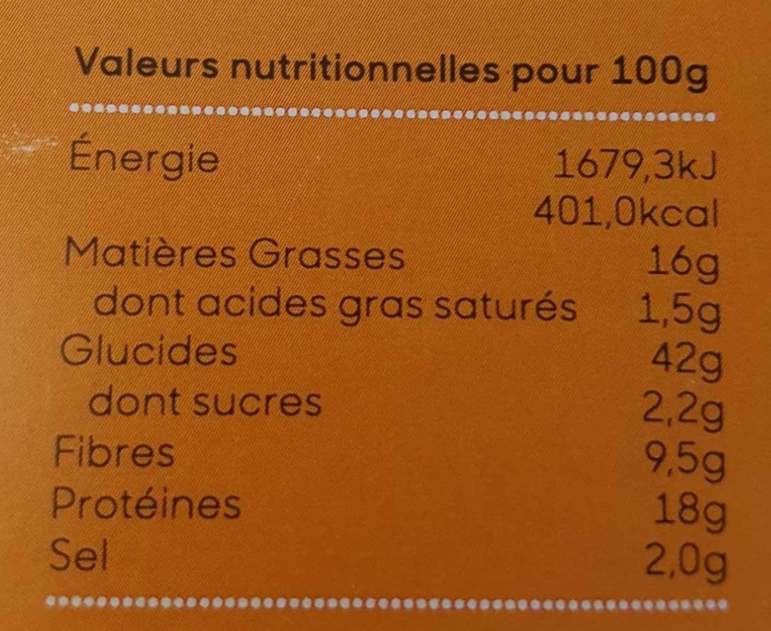 Pois chiche Cumin et pavot - Nutrition facts